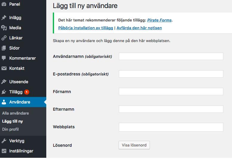 Lägg till ny användare i wordpress