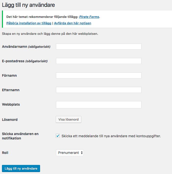 Att lägga till en användare i wordpress samt deras rättigheter (roll)