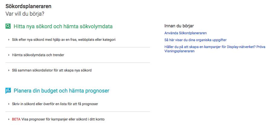 Sökordsplaneraren på Google