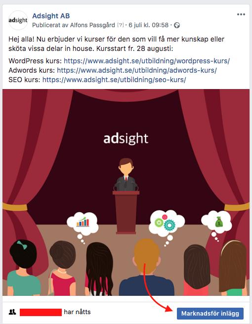 marknadsför facebookinlägg