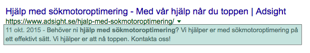 Metabeskrivning (meta description)