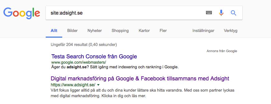 Ta reda på om din webbplats är indexerad på Google