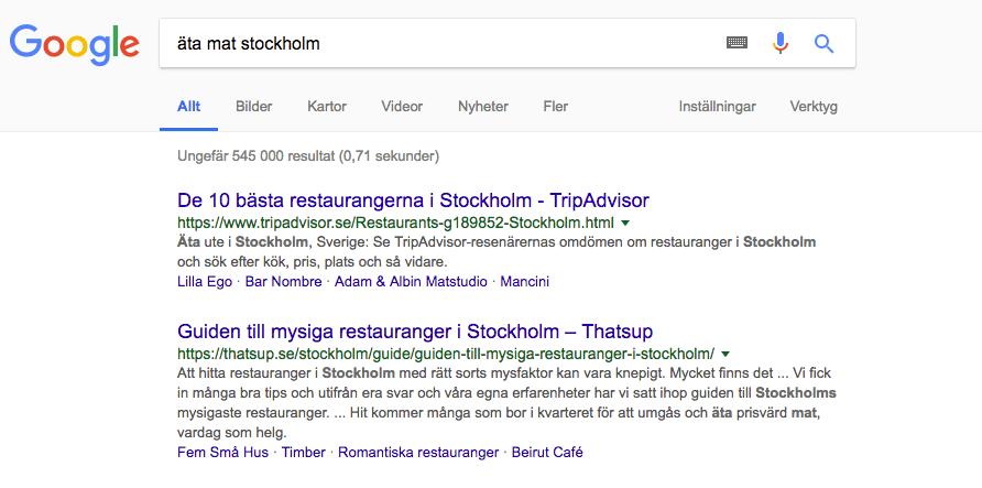Sökresultat Google