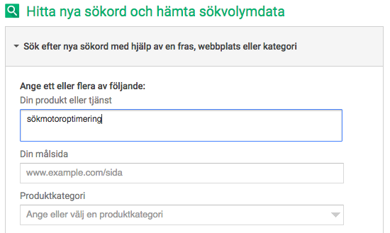 Google sökordsplanerare