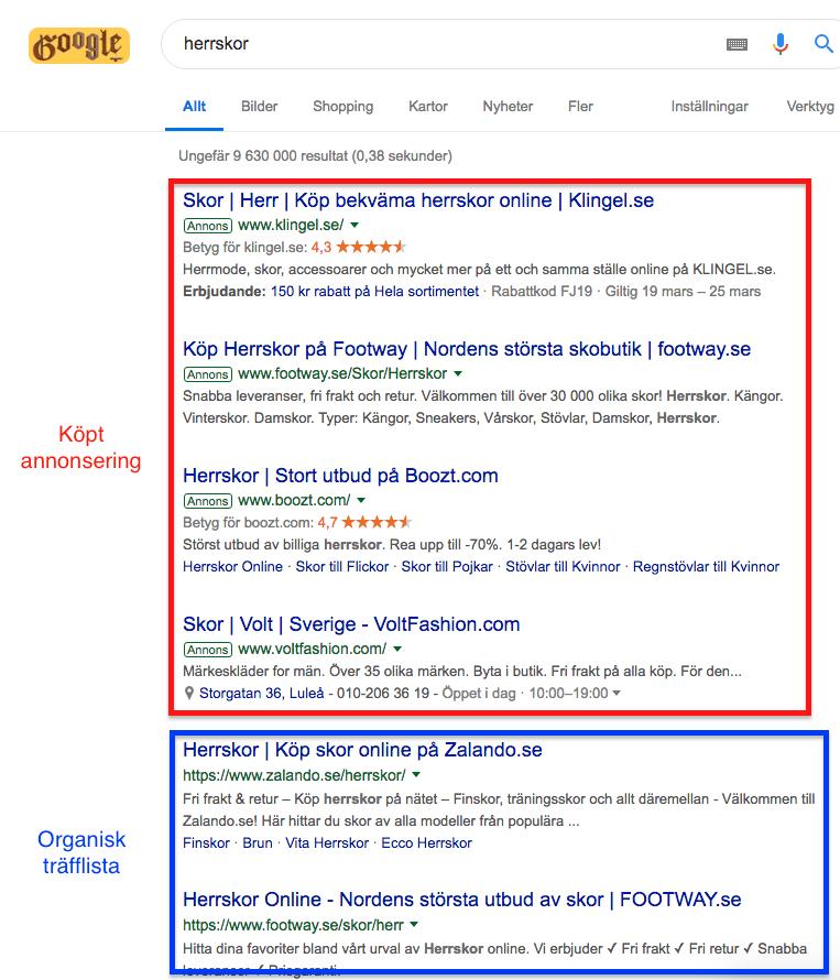 Organisk träfflista Google