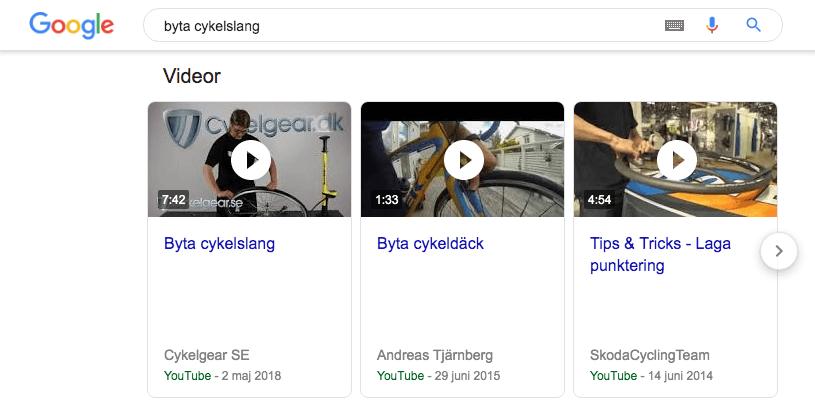 Videoklipp i sökresultat