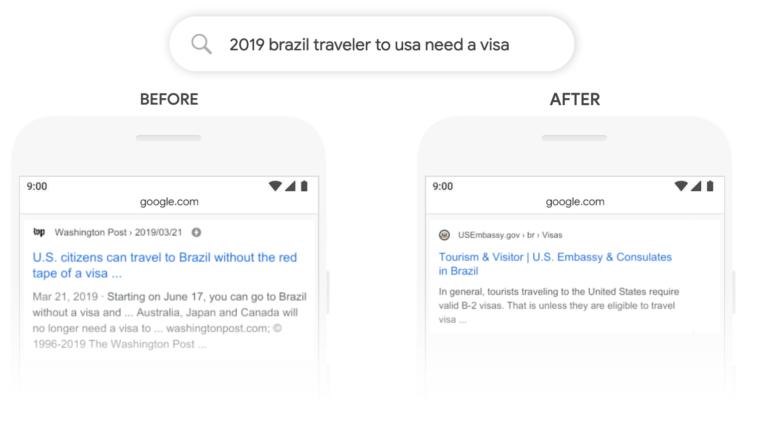 Exempel på Googles uppdatering BERT
