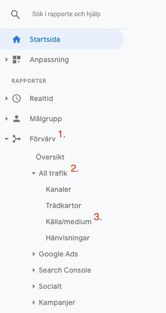 Kontrollera organisk trafik i Google Analytics - steg 1