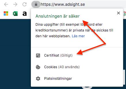 Kontrollera SSL-certifikat