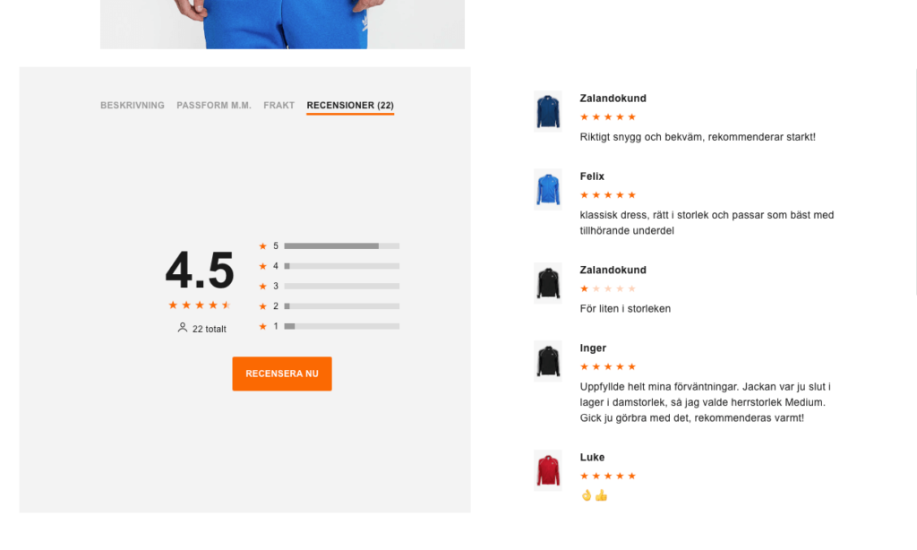 Recensioner på e-handel
