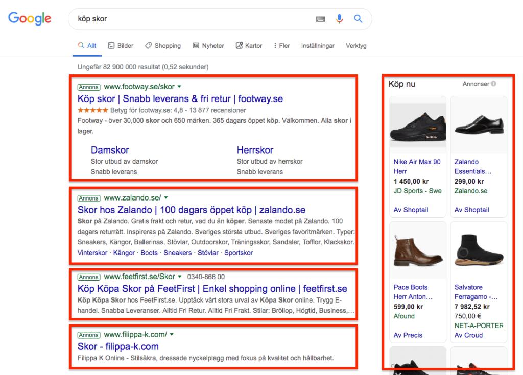 Annonser i Googles sökresultat