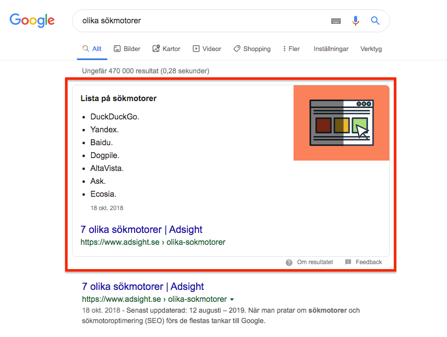 Featured Snippet i Googles sökresultat