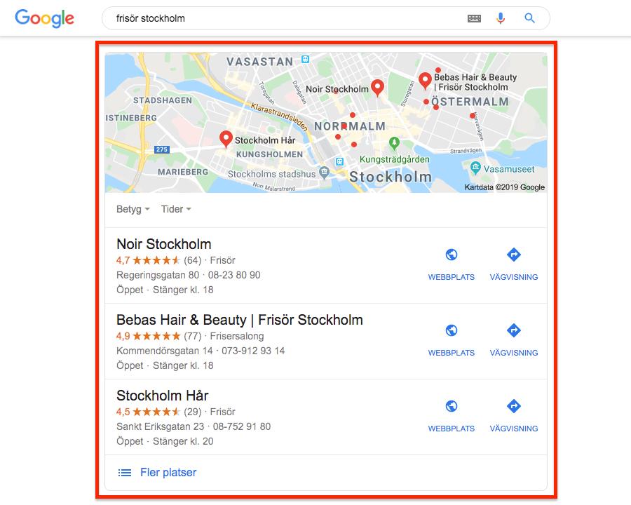 Lokala företag i Googles sökresultat