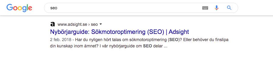 Position ett i Googles organiska sökresultat