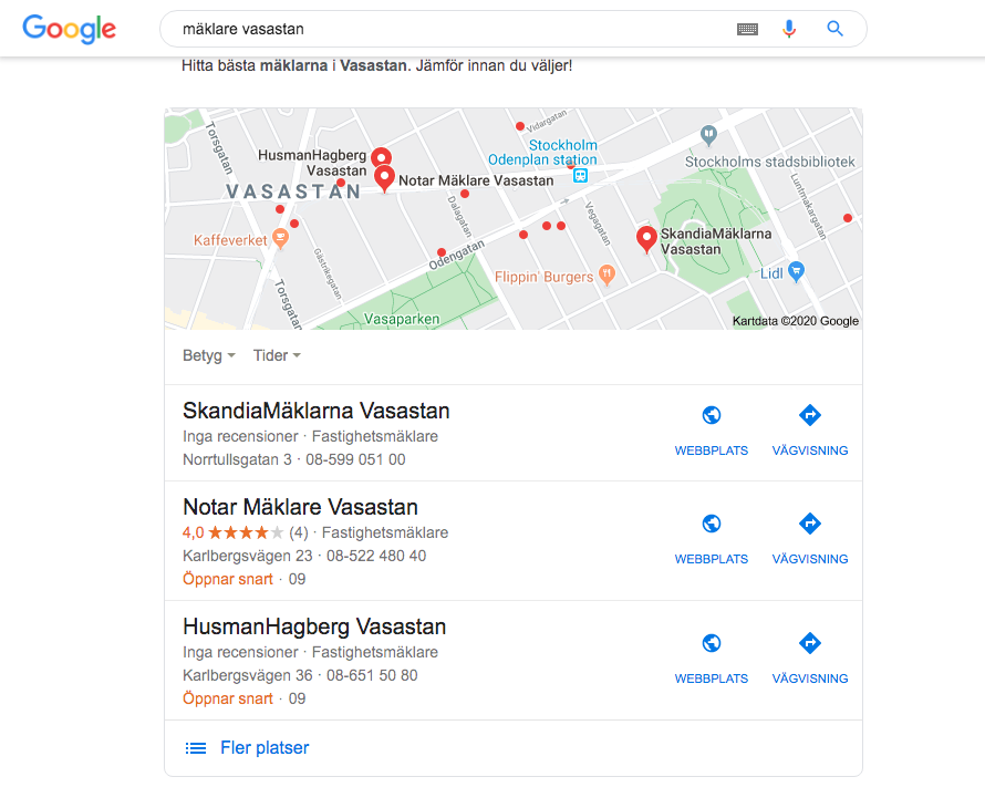 Google My Business mäklare