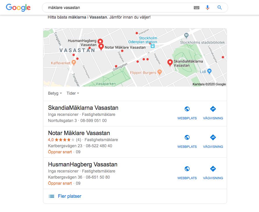 Google My Business mäklare