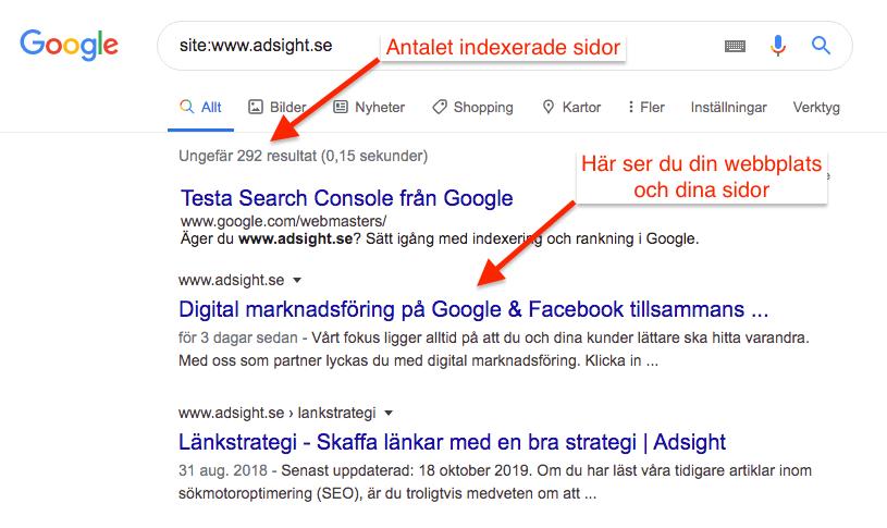Indexerade sidor i Google