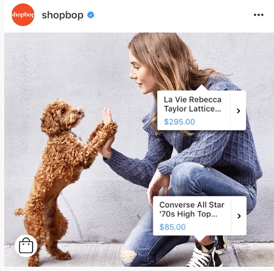 Instagram shopping exempel