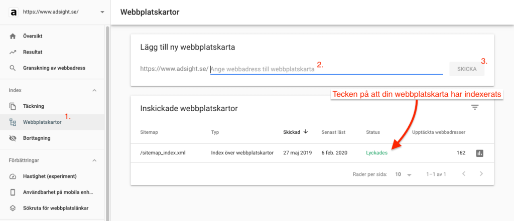 Skicka in XML-sidkarta via Google Search Console
