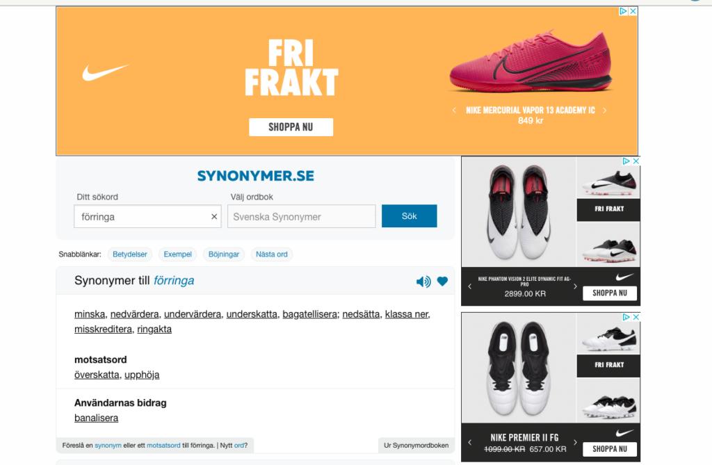 Annonser på webbplats