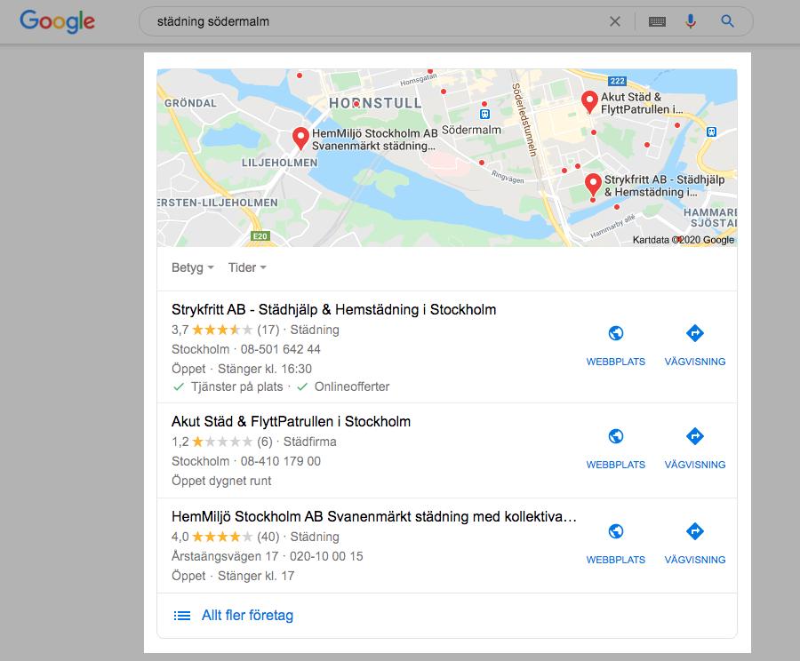 Google My Business för städfirma